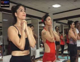 yoga Day Rakhi Shawant and others practice yoga