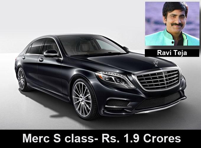 Ravi teja with his car merc S class