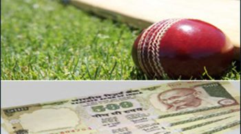 Image with Cricket Ball and Indian currency