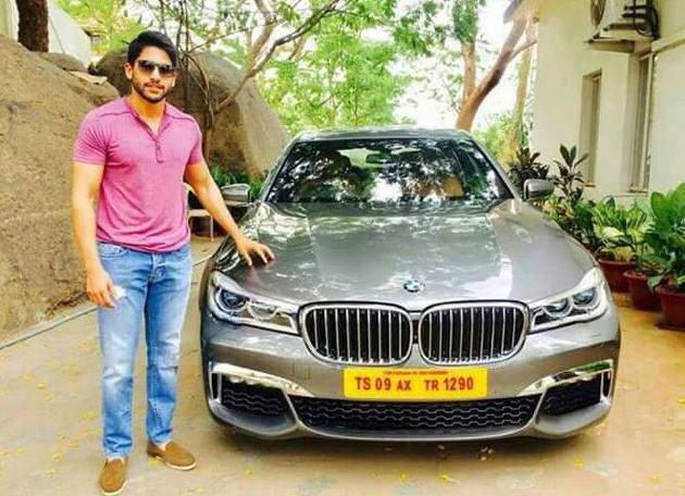 Nagachaitanya film actor with BMW 325 car